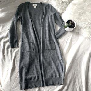 Ellen Tracy 100% Merino Wool Long Duster Cardigan